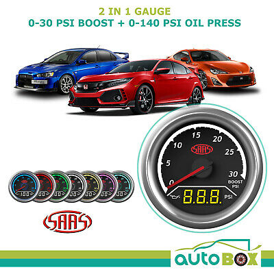 SAAS 2 in 1 Boost 0-30PSI and Oil Pressure 0-140PSI 52mm Gauge Set Warning Level