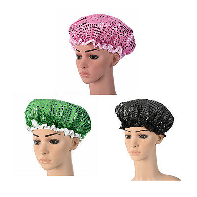 Lady's Sequin Bathing Shower Cap Waterproof Layer Elastic Band Bath Hair Hat