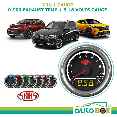 SAAS 2 in 1 Analogue Digital Trax 0-900 Exhaust Temperature & 8-18 Volts Gauge