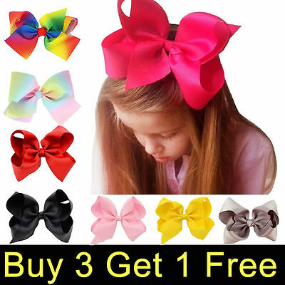 "3"" 4"" 5"" 6"" 8"" Inch Boutique Hair Clip Pin Alligator Grosgrain Ribbon Bow Girl"