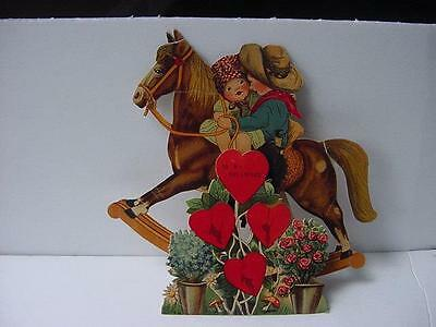 Large Vintage German Diecut VALENTINE:Stand-Up Rocking HORSE w/Boy+Girl Riders