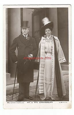 Political Mr & Mrs Chamberlain Real Photo Vintage Postcard 10.9