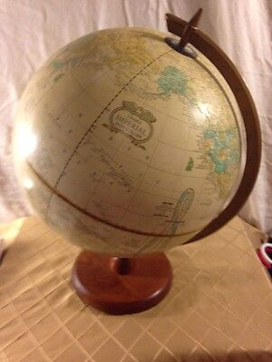 "Vintage Cram's Imperial World Globe 18"" Tall Beige Wood"