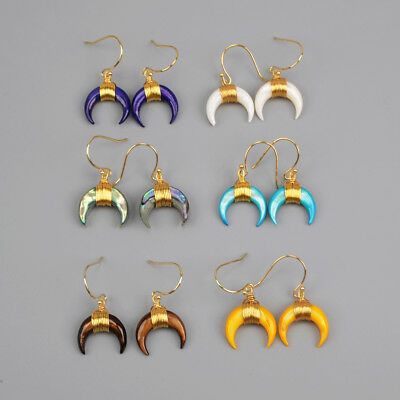 5Pcs Crescent Moon Horn Rainbow Shell Wire Wrap Earrings Gold Plated BG1123-E