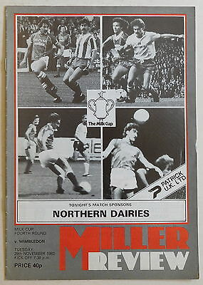 ROTHERHAM UNITED Vs WIMBLEDON Prog - 29 November 1983 - League Cup Fourth Round