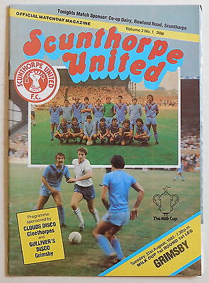 SCUNTHORPE UNITED Vs GRIMSBY Prog - 31 August 1982 - League Cup First Round