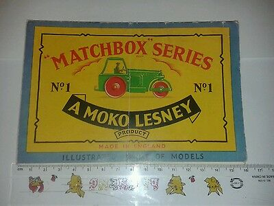 RARE 1958 LESNEY MATCHBOX 1st FOLDER CATALOGUE. no 1 diesel road roller on cover