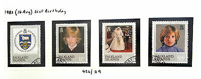 FALKLAND IS 1982 SG 426/29 21st BIRTHDAY DIANA GOOD USED