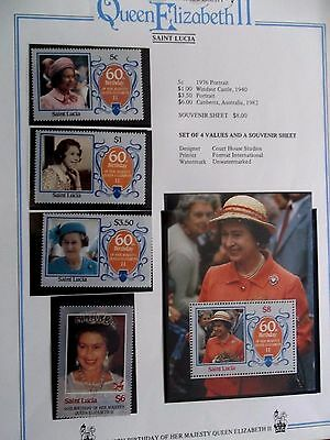 ST LUCIA 1986 SG 876/879 MS 880 QUEEN'S 60th BIRTHDAY MNH UM