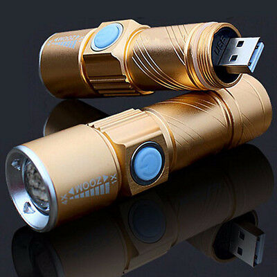 USB Handy LED Torch Flash Light Pocket Rechargeable Zoom Flashlight Lamp II