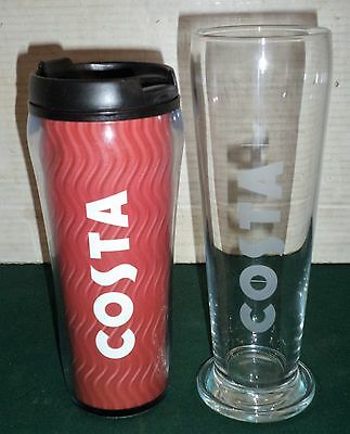 COSTA COFFEE INSULATED DOUBLE WALL 450ml  TRAVEL FLASK & LARGE GLASS