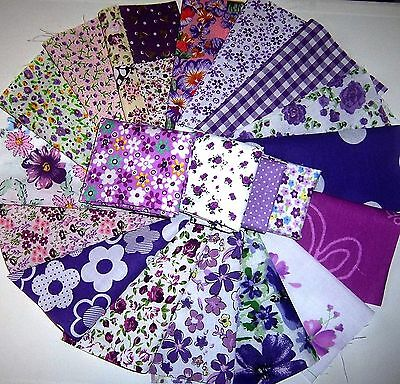 craft patchwork fabric material remnants shades of purple