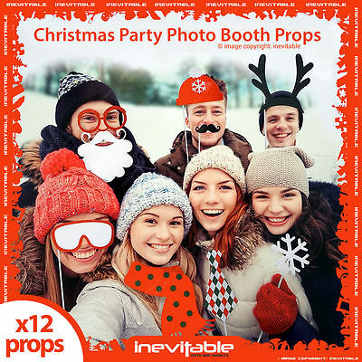 Christmas Kids Adult Party Fun Photo Booth Props Festive Xmas Selfie x 24 Packs
