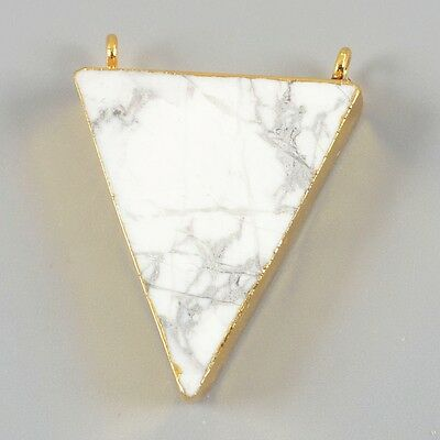Triangle White Howlite Turquoise Connector Gold Plated B020147