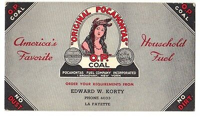 """"""" Orginal Pocahontas """" Ink Blotter Unused With 2 Scatter Tags For Free!!!!!!!!!!"""