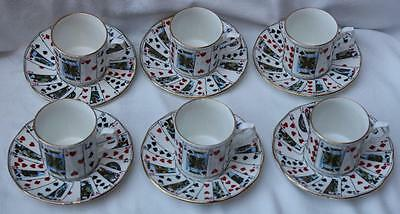 6 x Elizabethan China Cut for Coffee Cans / Cups & Saucers Playing Card Design