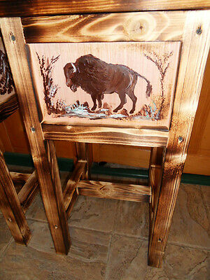 Bison table  Buffalo table  nightstand  end table wood hand made in Maine, wood