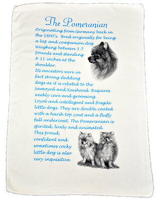 Pomeranian Dog Origins & Breed Facts Gift Packed Microfibre Tea Towel