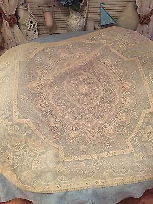 Vintage Lace Tablecloth Cream Beautiful Detail