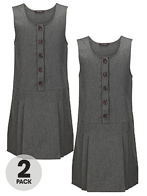 Top Class Girls Woven Pack Of Two Pinafores In Grey Size 5-6 Years