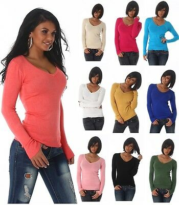 Sexy Basic Feinstrick Pullover Pulli Strickpullover  Sweater