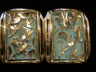 Vintage Atomic MCM Retro Lucite Turquoise Silver Moon Confetti Clip Earrings EXC