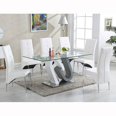 Barcelona Glass Dining Table In High Gloss And 6 Vesta White Chairs