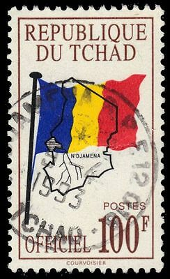 """CHAD O13 (Mi D12) - National Flag and Map """"Official Postage"""" (pf60722)"""