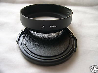 New Metal 46mm Screw-in Wide Angle Lens Hood + Cap E46