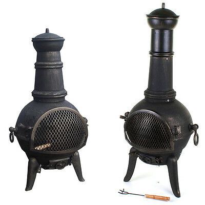 Large Cast Iron Chimenea Chiminea Chimnea Garden Patio Heater Steel Fire Pit NEW