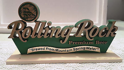 """Rolling Rock Plastic Beer Sign """"Brewed From Mountain Spring Water"""" Latrobe Pa."""