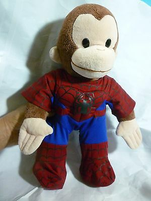 Curious George Spiderman Plush---About 15 In Tall---PreOwned & Very Clean