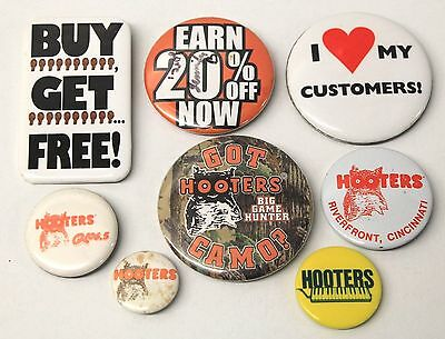 Lot Of 8 Metal Button Pin From Hooters Restaurant - Girls Wore These Pins