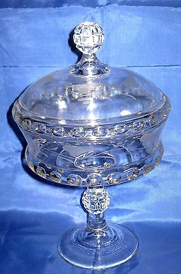 ANTIQUE 1800s EAPG DAKOTA BABY THUMBPRINT GLASS COVERED COMPOTE DISH W/VINES