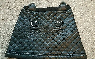 Girls cat feux leather skirt age 4-5 H&M