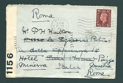1940 Censor Cover - London to Siena, ITALY & redirected to Rome