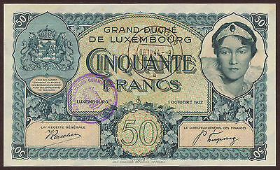 Luxemburg / Luxembourg 50 Francs 1932 mit Stempel Pick 38 (1)