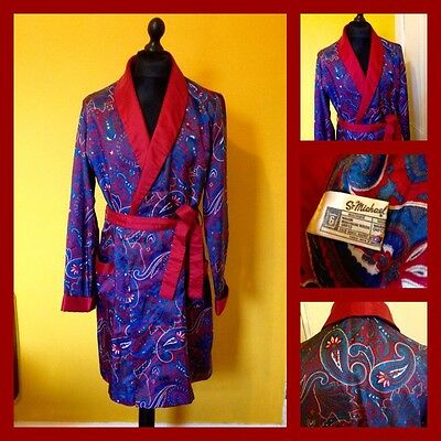 Vintage 60's 70's St Michael Paisley Tricel Smoking Jacket Robe Dressing Gown M