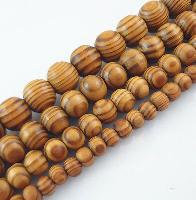 Natural Woodgrain Round Loose Spacer Beads Jewelry Making Bracelet/ Necklace DIY