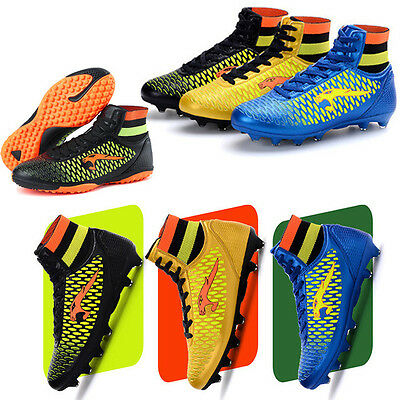 Youth Kids High Top Athletic TF Football Training Shoes Boys Cleats Soccer Boots