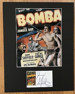 JOHNNY SHEFFIELD SIGNED AUTOGRAPHED BOY BOMBA OVERALL SIZE 11x14