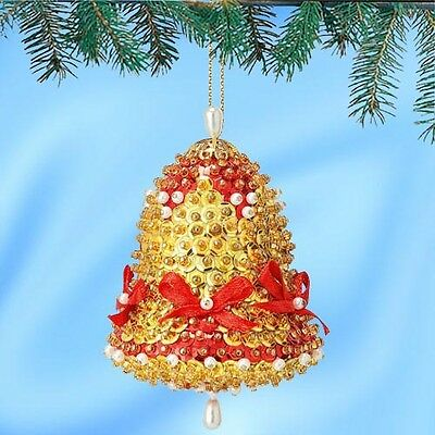 Kit makes 2 Gold Bells Ornaments Christmas Tree  Craft sequins pins