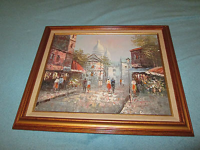 Vintage Framed Cityscape Signed M Sanders ? Oil on Canvas Painting