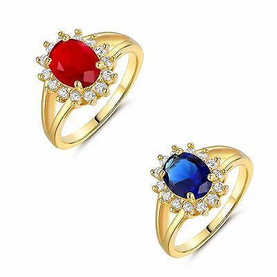 24k gold filled oval Ruby with white Topaz Accents Cluster women's ring Sz5-9
