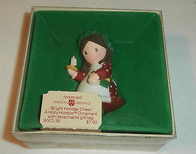 """American Greetings Holly Hobbie 1982 Ornament """"Bright Holiday Cheer"""""""