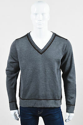 MENS Etro NWT Gray Brown Wool Knit V Neck Long Sleeve Sweater SZ L