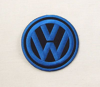 VW Iron or sew on embroidered patch Medium Blue on Black bay camper T1 T2 T3 T4