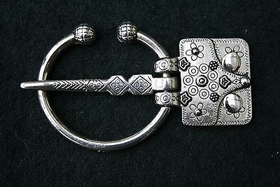 Silver Tone Torque Style Ladies Belt Buckle Only with Engraved designs