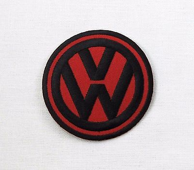 VW Iron or sew on embroidered patch Black on Red bay camper T1 T2 T3 T4