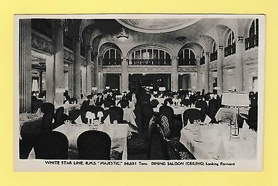 Shipping White Star Line RMS Majestic Dining Saloon Real Photo Postcard